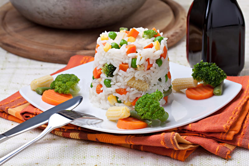 Rice and vegetables stock photo