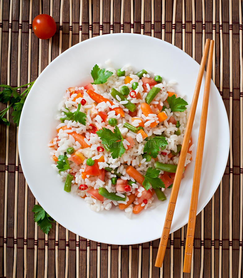 Rice with vegetables royalty free stock photos
