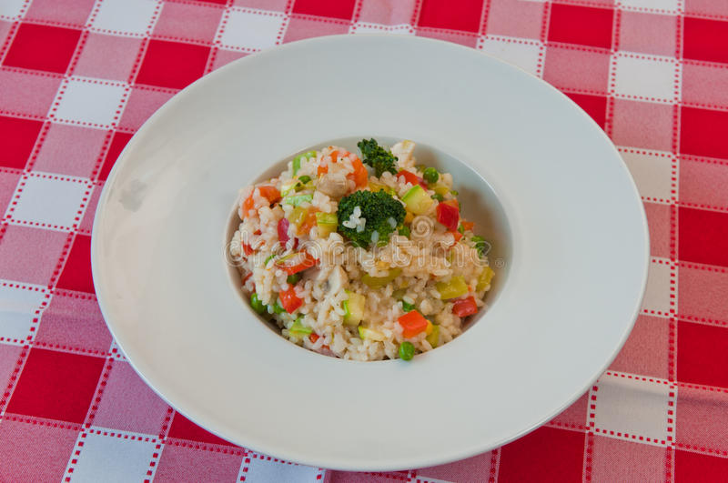 Rice with vegetables and broccoli stock image