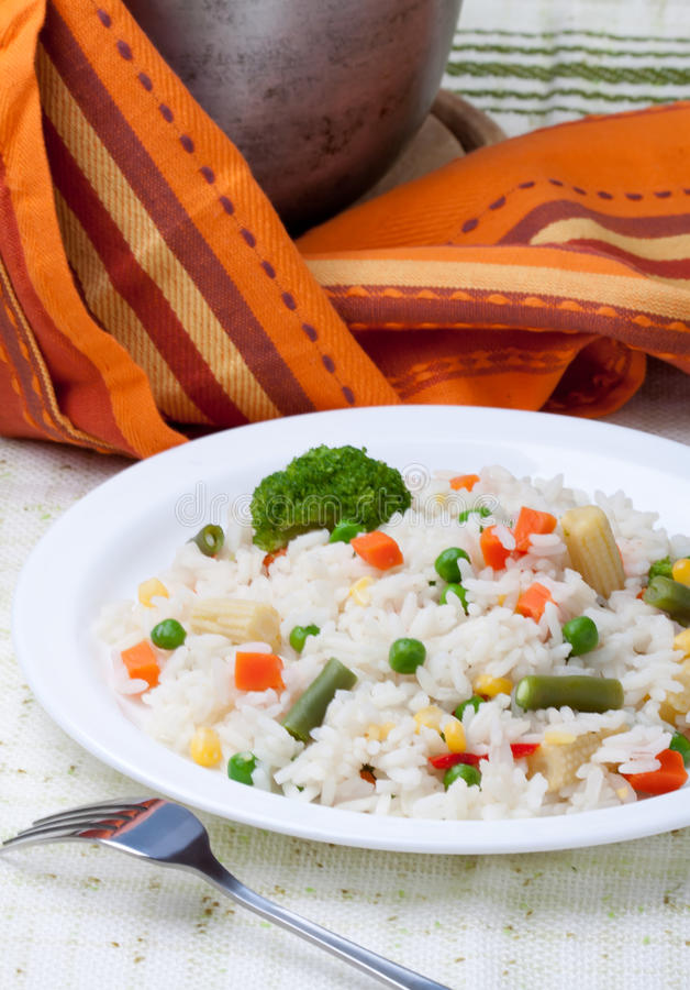 Rice and vegetables in dish stock image