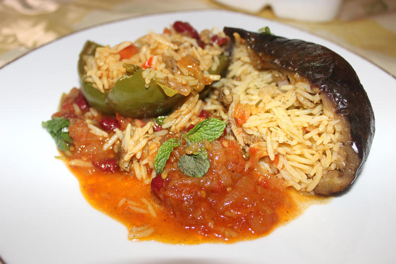 Download Rice w oberżynie zdjęcie stock. Obraz złożonej z selekcyjny - 57664552