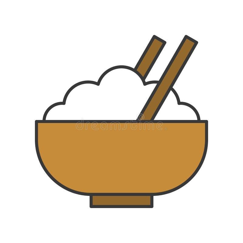 Rice w pucharze, jedzenia i gastronomy set, wypełniał kontur ikonę royalty ilustracja
