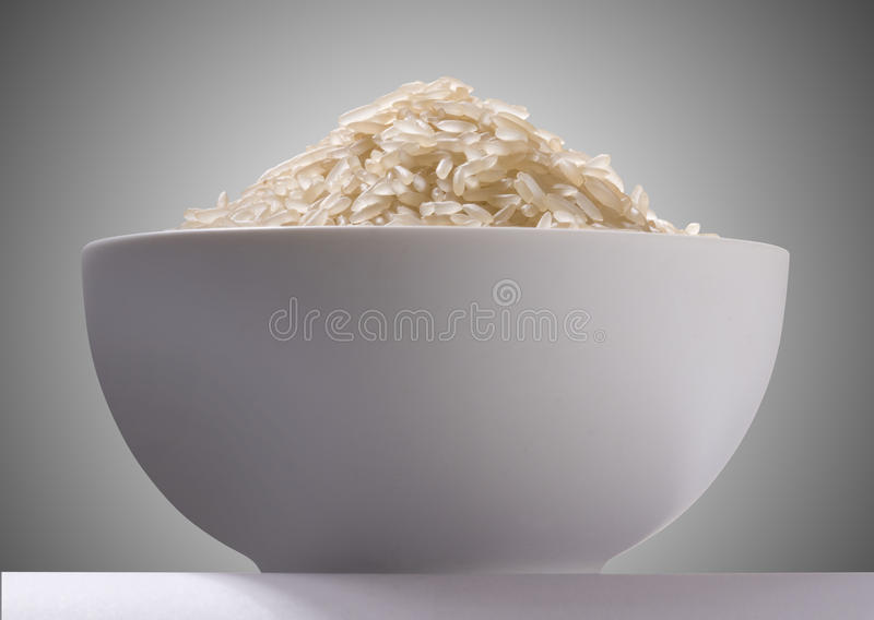 Rice In A White Bowl Stock Images