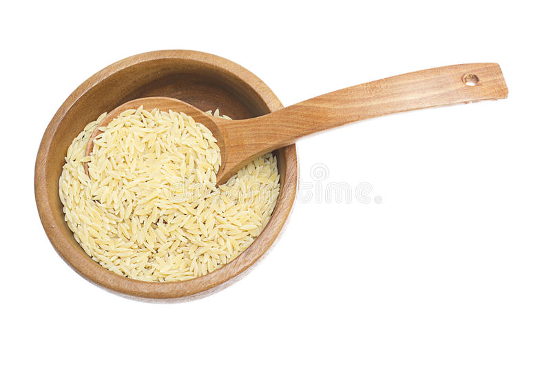 Download Rice In Wooden Plate And Spoon Isolated On White Stock Photo - Image: 29866478
