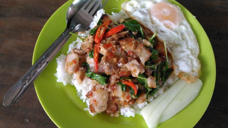 Rice z crispy basilem i wieprzowiną obrazy royalty free