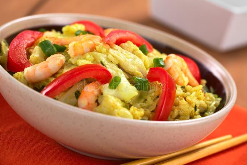 Ricematrätt med kål, höna och räkan royaltyfri foto