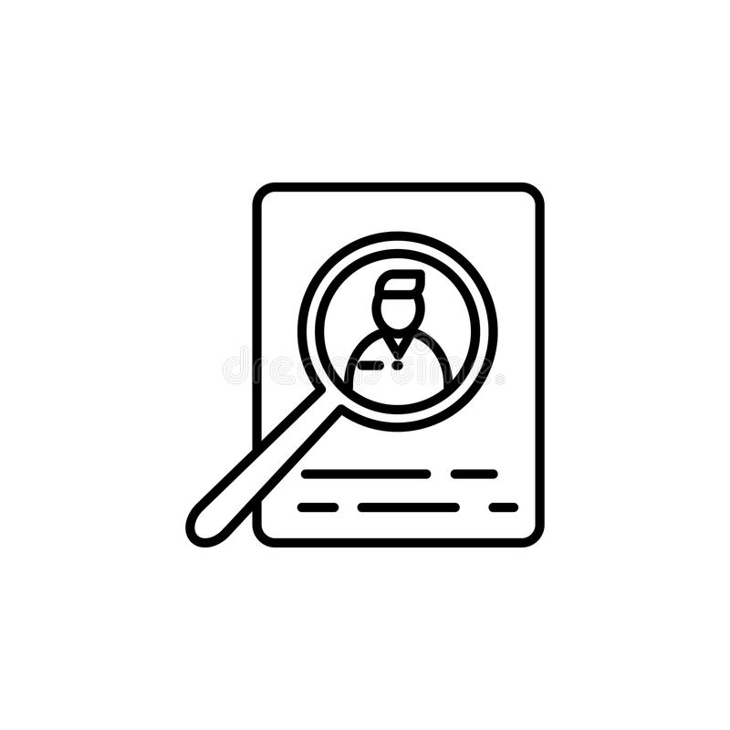 ricerca dei candidati per lavoro Elemento dell'icona di intervista di lavoro per i apps mobili di web e di concetto Linea sottile illustrazione vettoriale