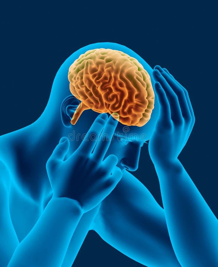 Ricerca dei raggi x di emicrania della testa umana con la vista laterale del cervello royalty illustrazione gratis