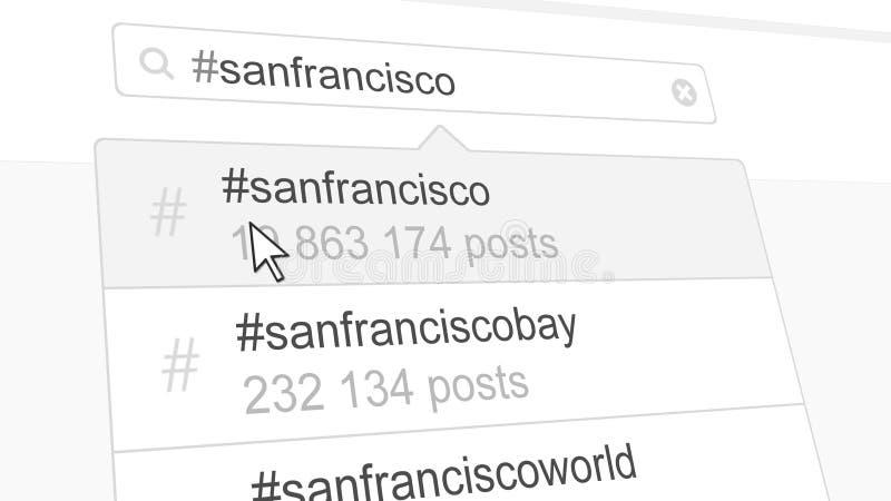 Ricerca del hashtag di San Francisco tramite le poste sociali di media rappresentazione 3d illustrazione vettoriale