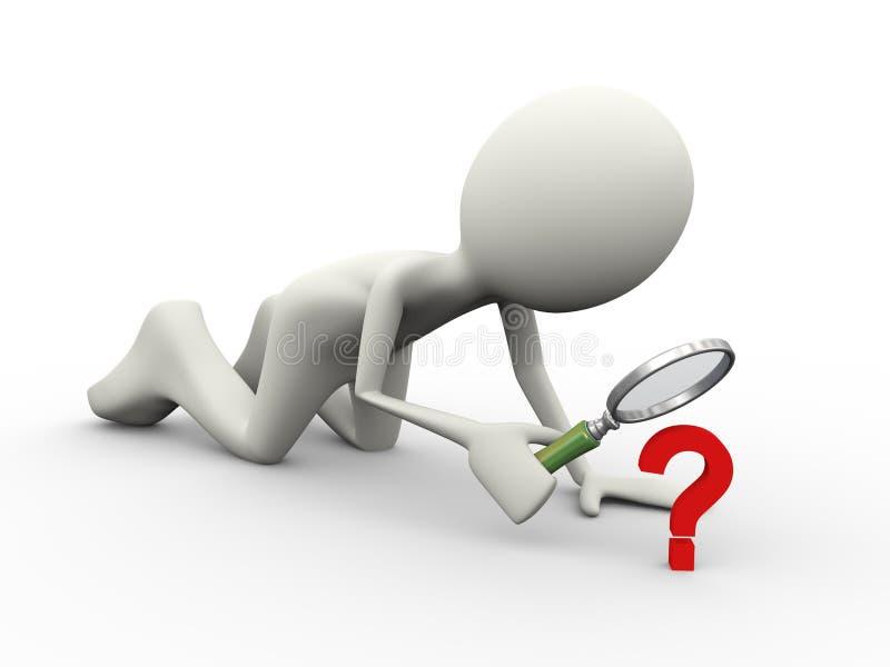 ricerca del punto interrogativo della persona 3d illustrazione di stock