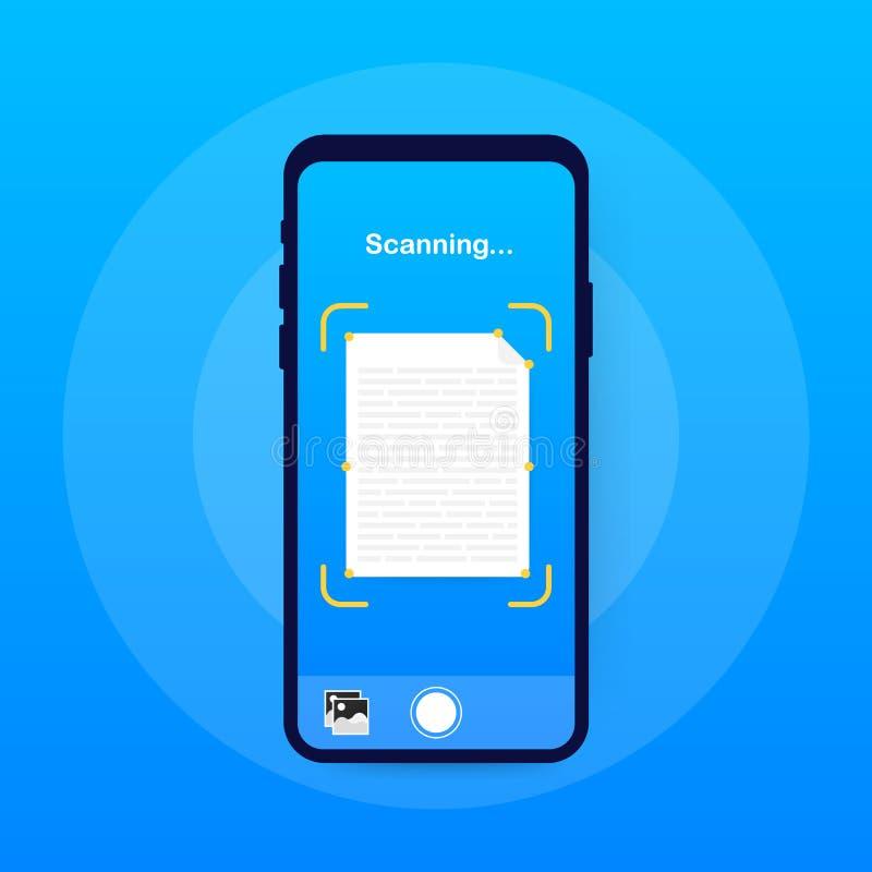 Ricerca del testo Modello di vettore dell'interfaccia dello smartphone dell'analizzatore del documento Disposizione di progettazi illustrazione di stock