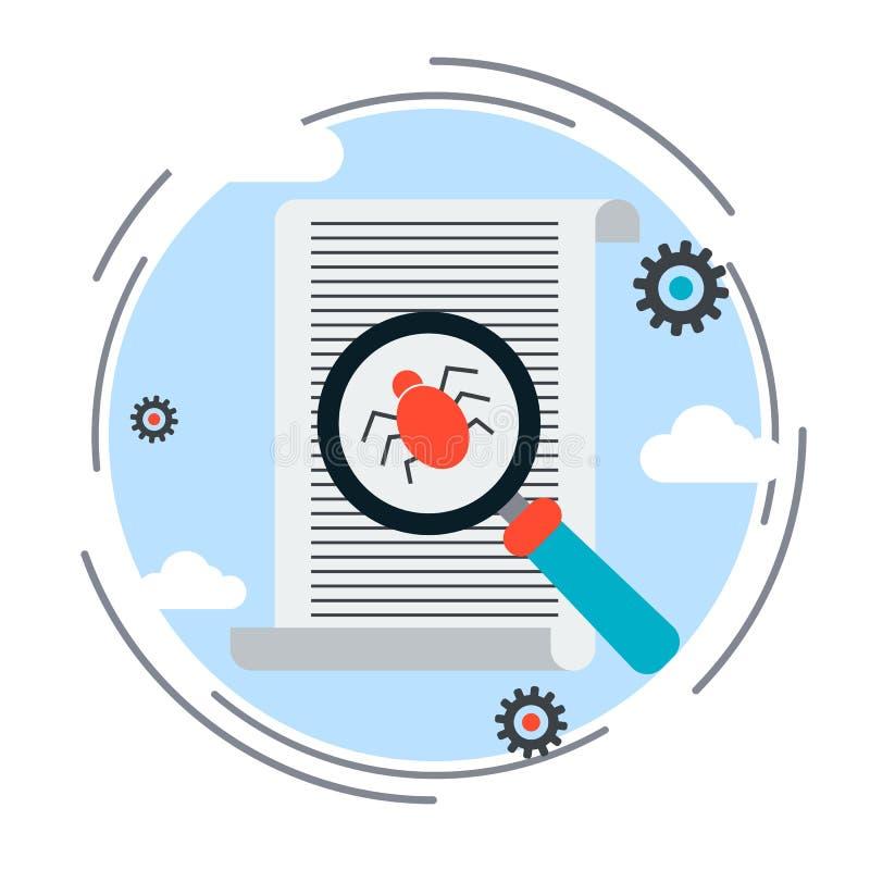 Ricerca del virus informatico, ricerca degli errori, concetto di sicurezza di Internet royalty illustrazione gratis
