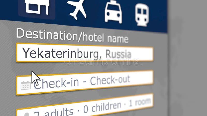 Ricerca dell'hotel a Ekaterinburg su un certo sito di prenotazione Il viaggio in Russia ha collegato la rappresentazione 3D illustrazione vettoriale