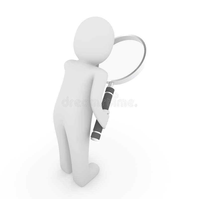 ricerca della lente di ingrandimento dell'uomo 3d illustrazione di stock