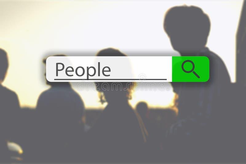 Ricerca della linguetta sopra l'immagine di concetto con la gente g di parola immagini stock libere da diritti