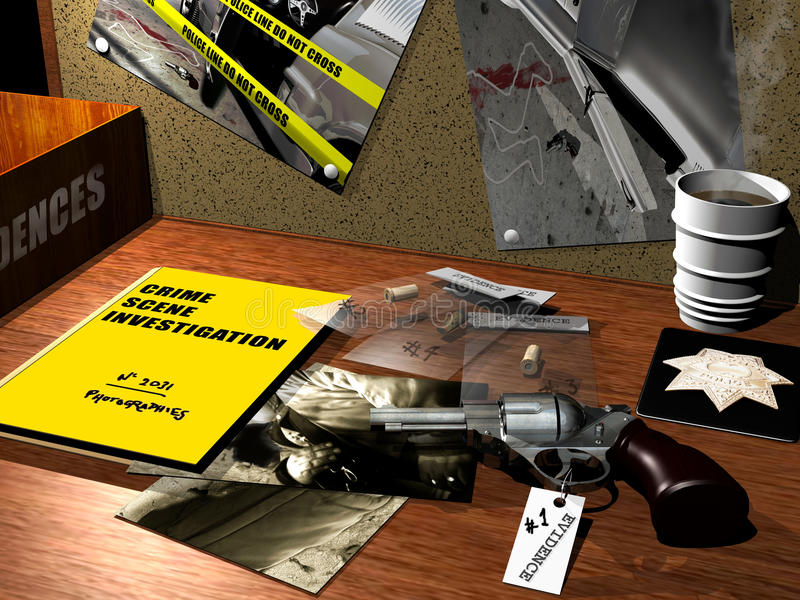Ricerca della scena del crimine illustrazione vettoriale