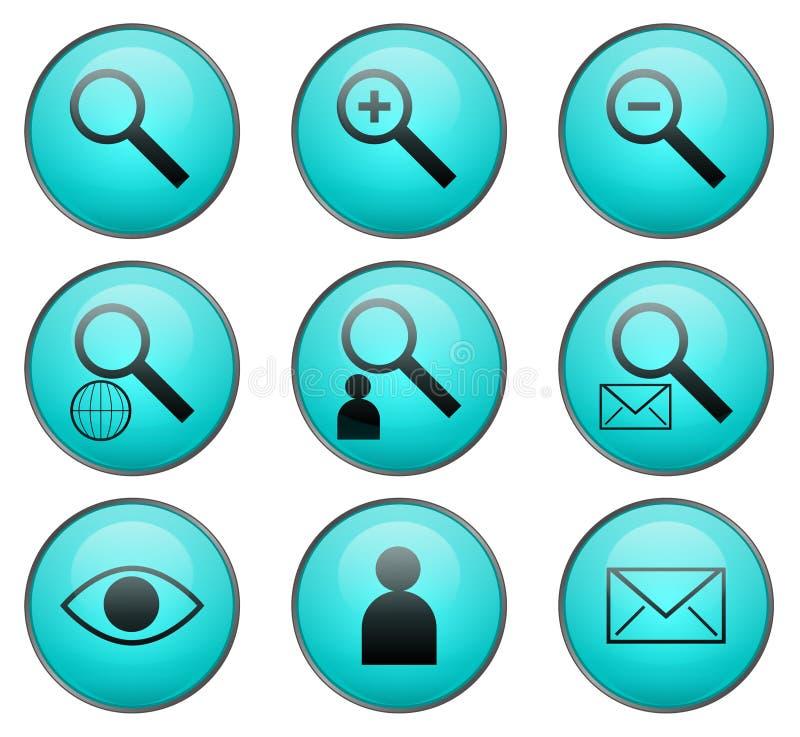 Ricerca delle icone di Web di vettore illustrazione di stock