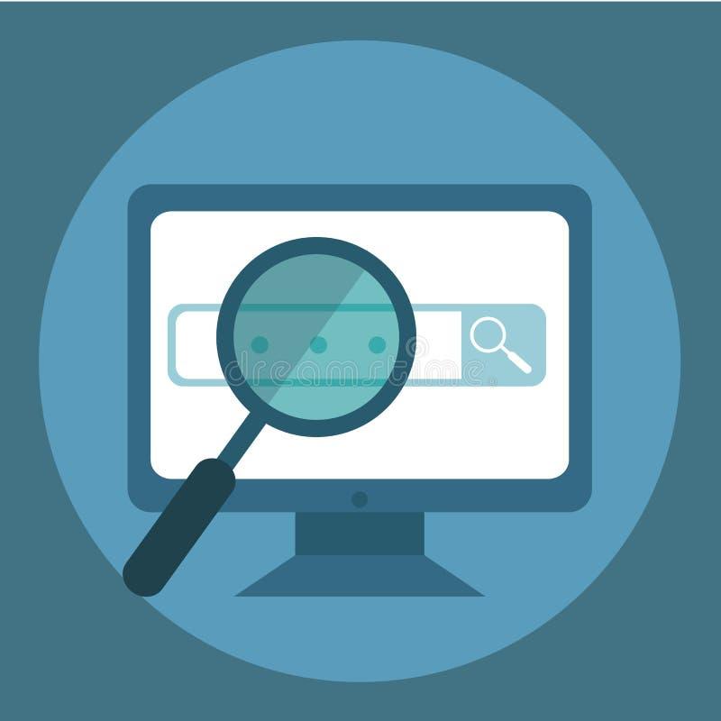 Ricerca di Web Fondo di calcolo piano Programmazione e codificare Sviluppo Web e ricerca Ottimizzazione di Search Engine innovazi royalty illustrazione gratis