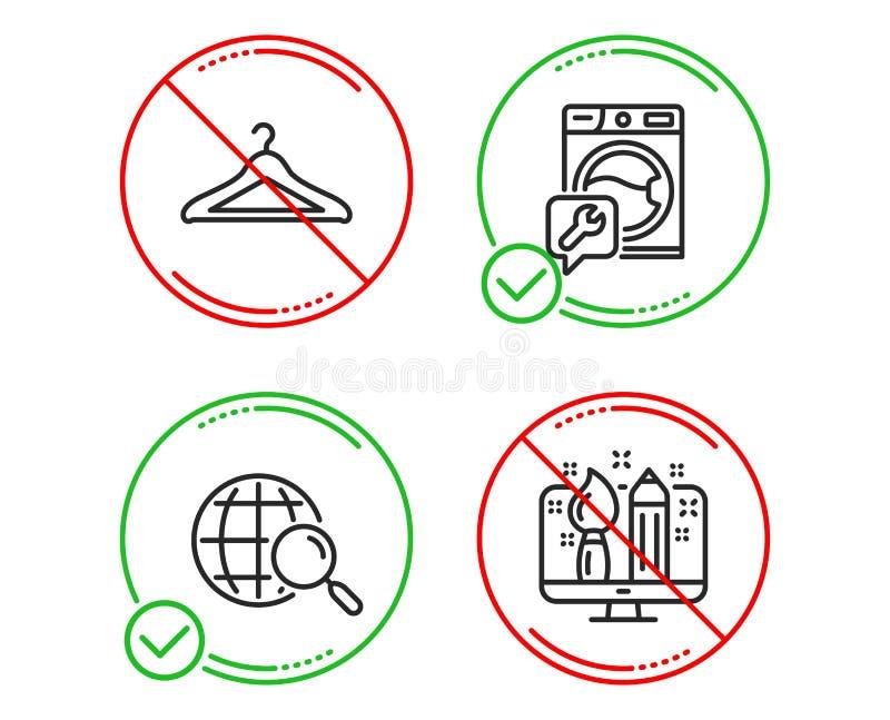 Ricerca di web, insieme delle icone del guardaroba e della lavatrice Segno creativo di progettazione Vettore royalty illustrazione gratis