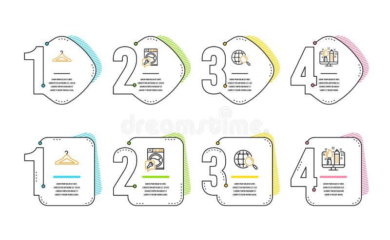 Ricerca di web, insieme delle icone del guardaroba e della lavatrice Segno creativo di progettazione Vettore illustrazione vettoriale