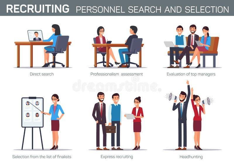 Ricerca e selezione di reclutamento piane del personale royalty illustrazione gratis
