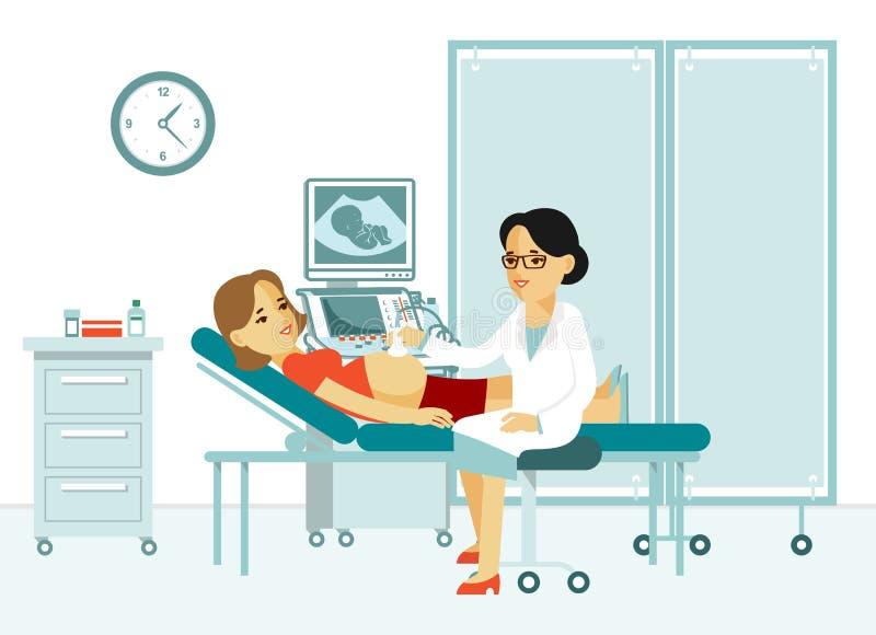 Ricerca e sistemi diagnostici di ultrasuono di concetto della medicina nello stile piano su fondo bianco illustrazione di stock