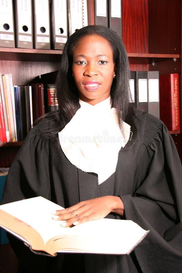 Ricerca femminile professionale dell'avvocato nella biblioteca immagine stock