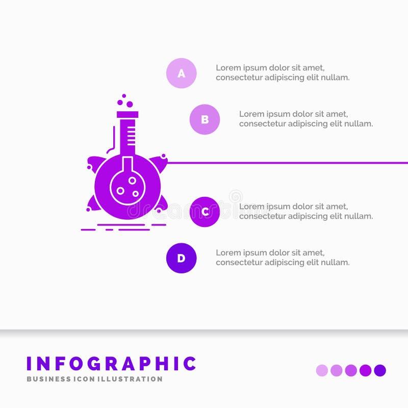 ricerca, laboratorio, boccetta, tubo, modello di Infographics di sviluppo per il sito Web e presentazione Icona porpora di glifo  royalty illustrazione gratis