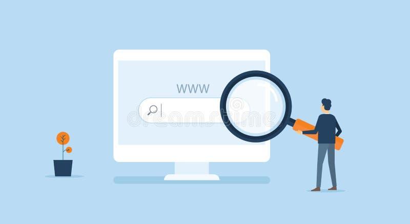 Ricerca online di affari in Internet piano di tecnologia nel web che naviga concetto illustrazione di stock