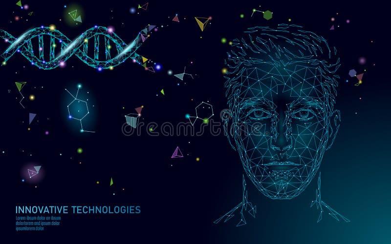 Ricerca poligonale 3D di scienza di trattamento della molecola del DNA Sanità poligonale dell'uomo medico del poli fronte maschio illustrazione di stock