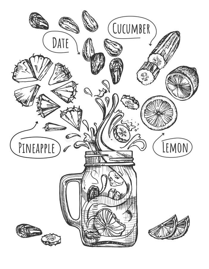 Ricetta classica del frullato fresco con l'insieme di frutti illustrazione vettoriale