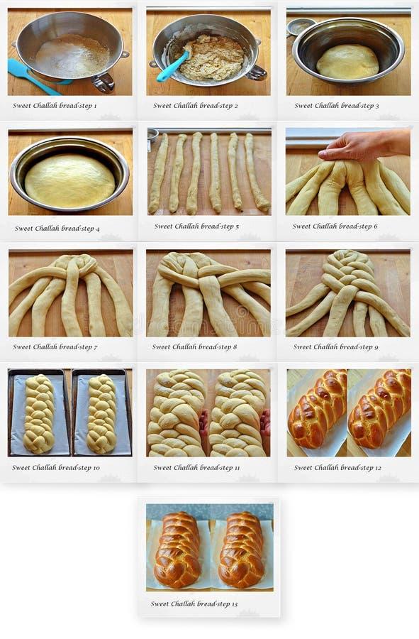 Ricetta del pane dolce del Challah immagine stock