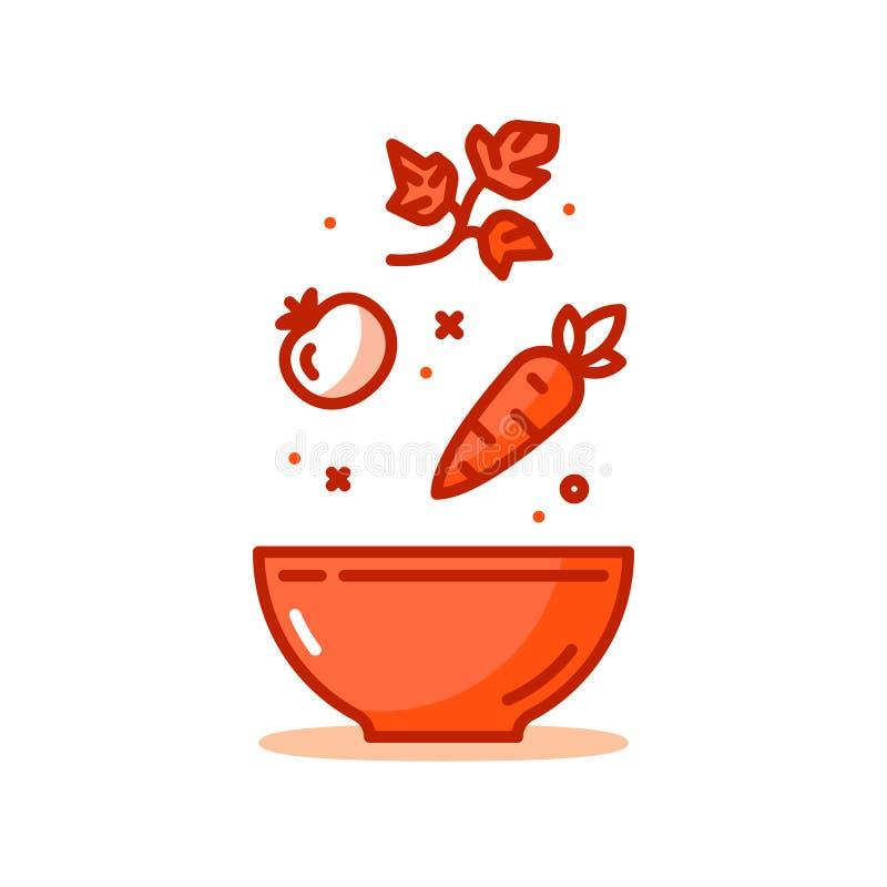 Ricetta dell'insalata, ortaggi freschi, cibo sano, icona di vettore illustrazione vettoriale