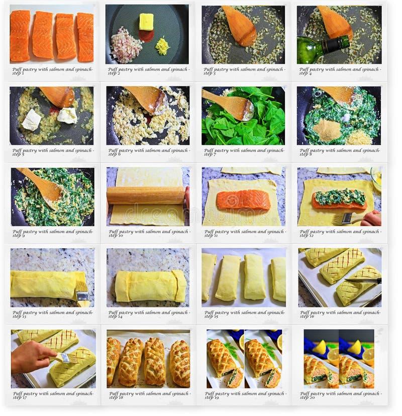 Ricetta della pasticceria di Paff con saslmon e spinaci immagini stock libere da diritti