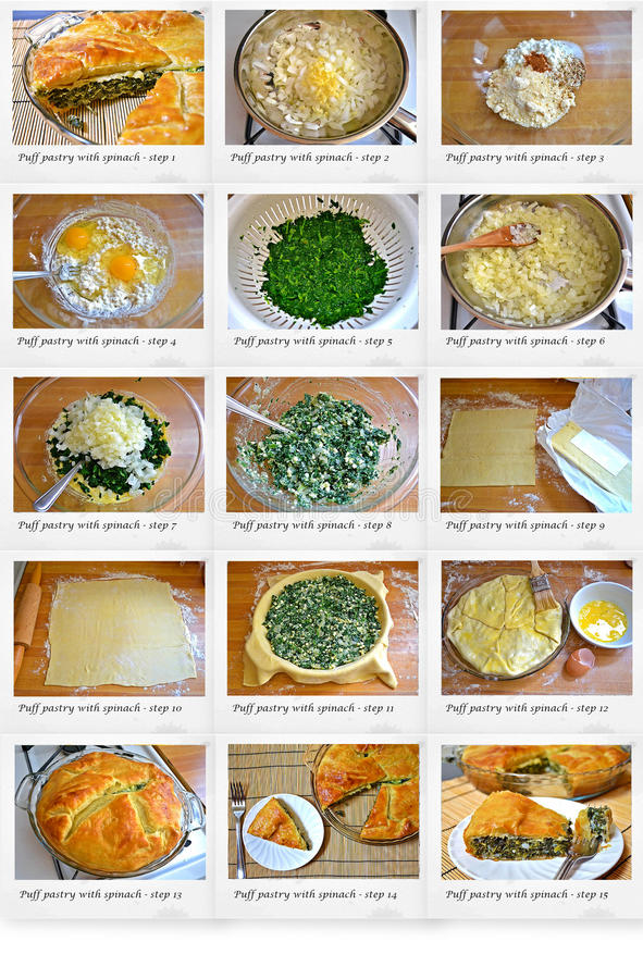Ricetta della pasticceria di Paff con spinaci immagine stock libera da diritti