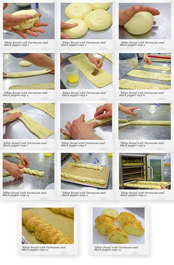 Ricetta di pane bianco con parmigiano e pepe nero fotografie stock