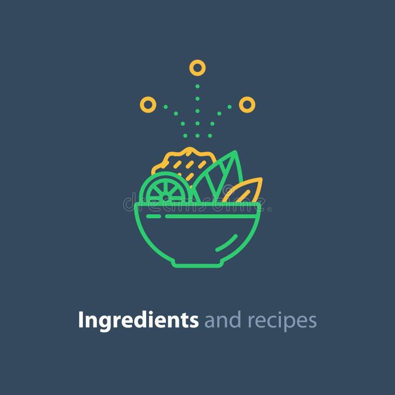 Ricetta ed ingredienti, linea icona, alimento dell'insalatiera di dieta royalty illustrazione gratis