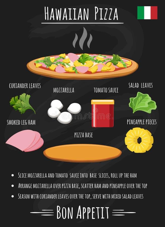 Ricetta hawaiana della pizza sulla lavagna illustrazione di stock
