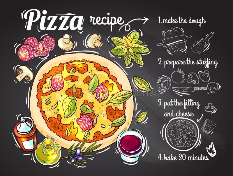 Ricetta italiana della pizza illustrazione di stock