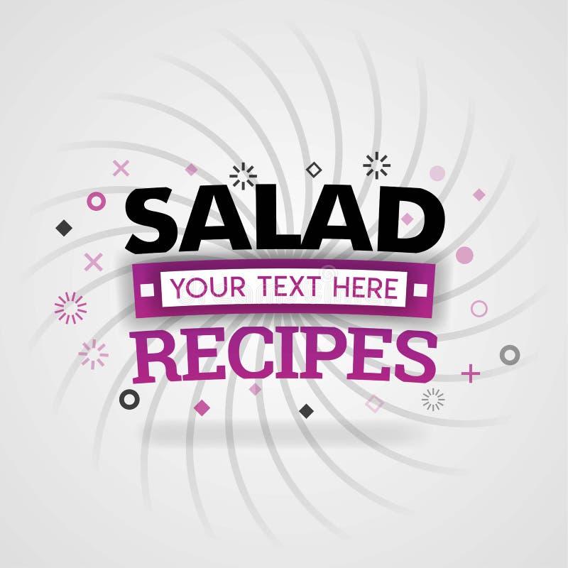 Ricette dell'insalata con alimento favorito in un ristorante rapido del pasto illustrazione di stock