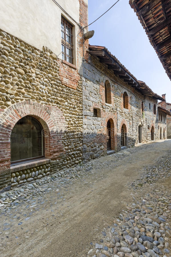 Ricetto of Candelo (Biella, Italy). Ricetto of Candelo (Biella, Piedmont, Italy) - Typical street in the medieval village stock photos