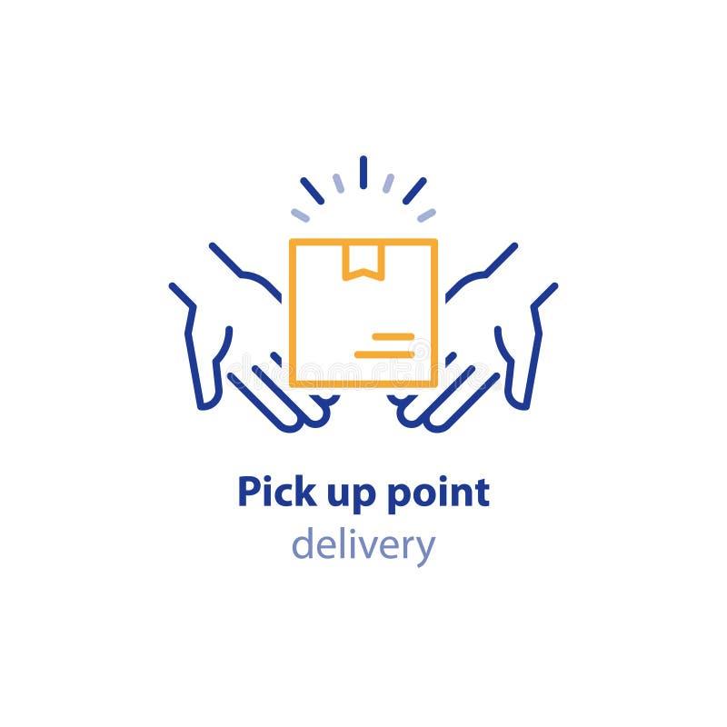 Ricevi il pacchetto, prenda il punto, la raccolta del pacchetto, scatola in mani, servizi del trasportatore royalty illustrazione gratis