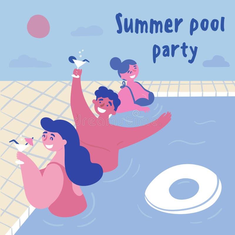 Ricevimento pomeridiano della piscina Donne ed uomini illustrazione di stock