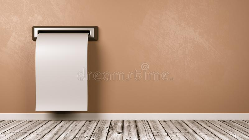 Ricevuta in bianco che esce dalla parete della stanza illustrazione vettoriale