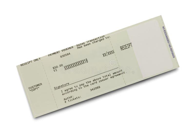 Ricevuta del biglietto immagini stock libere da diritti