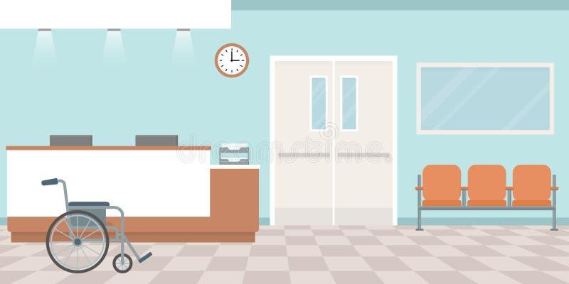 Ricezione dell'ospedale Svuoti la stazione degli infermieri Corridoio con le poltrone illustrazione di stock