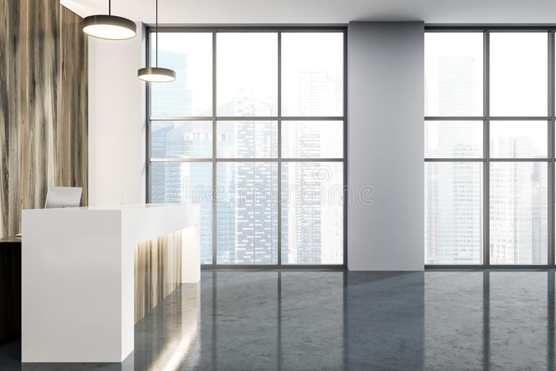 Ricezione di legno in una vista laterale dell'ufficio moderno illustrazione vettoriale