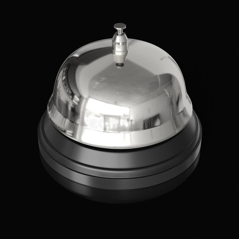 Ricezione isolata Bell di Chrome su un fondo leggero non marcato con la riflessione illustrazione vettoriale