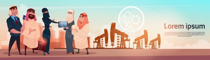Rich Arab Business Man Oil handel Pumpjack Rig Platform Black Wealth Concept royaltyfri illustrationer
