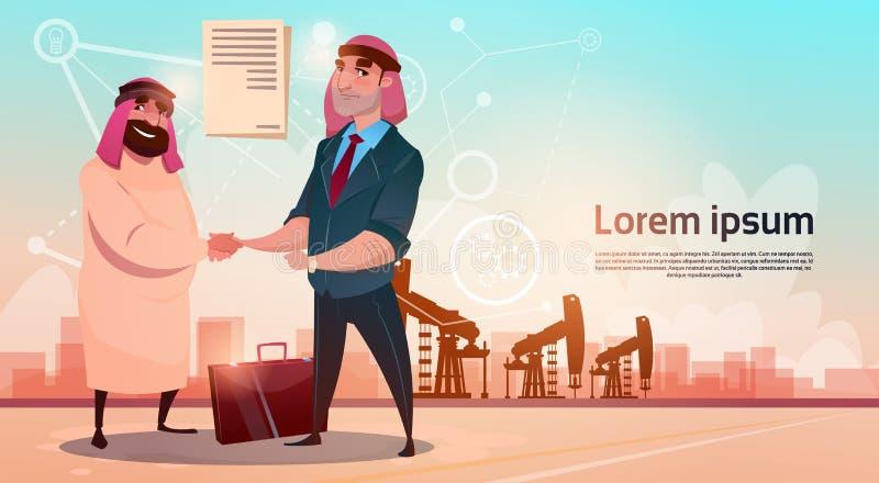 Rich Arab Business Man Oil Trade Pumpjack Rig Platform Black Wealth Concept stock illustration